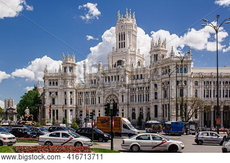 Madrid, Spain  - 14 May 2017: The Main Facade Of The City Hall, Located At Plaza De Cibeles Square,