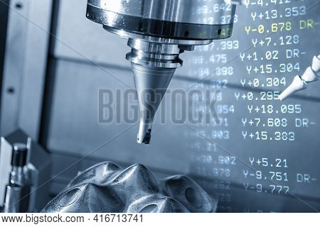 Abstract Scene Of Cnc Milling Machine And G-code Data Background Rough Cutting The Mold Part. The Hi