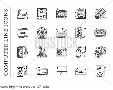 Computer Parts Line Icons Set Isolated On White Background. Pc Icons Contain Signs As Memory, Mouse,