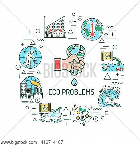 Eco Problems Web Banner. Infographics With Linear Icons On White Background. Creative Idea Concept.