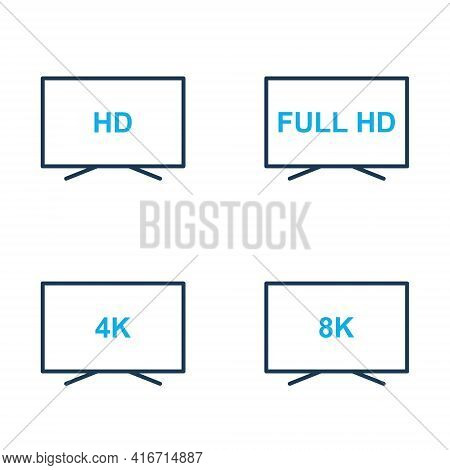 Tv Icons Vector Set. Hd, Full Hd, 4k, 8k Video Resolution Icons. Display Screen With Different Quali