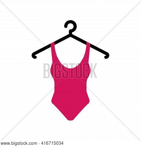 Pink Swimsuit On A Hanger. Swimsuit Icon With Hanger, Swimsuit Vector Illustration Isolated On White