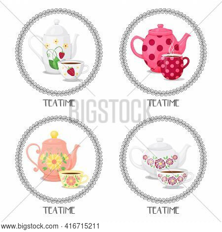 Set From Frames With Teacups And Teapots. Teatime. Vector Illustration. Cartoon Style. Isolated On W