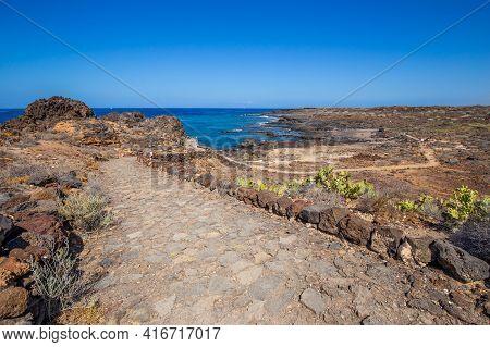 Old Cobblestone Road At The Coastline Of Tenerife