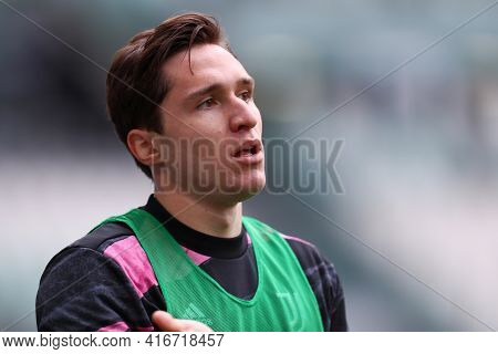 Torino, Italy. 13 April 2021. Federico Chiesa Of Juventus Fc  During The Serie A Match Between Juven