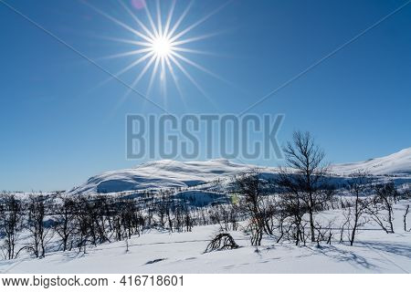Mountain Wilderness Winter Landscape On A Bright Sunny Day.