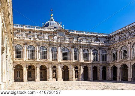 Inner Court Of The Royal Palace. Palacio De Oriente, Madrid Landmark, Spain.