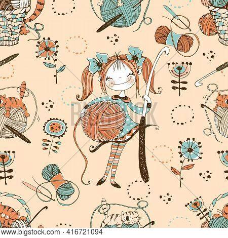 Crocheting. Seamless Pattern. Cute Needlewoman With A Crochet Hook. Vector