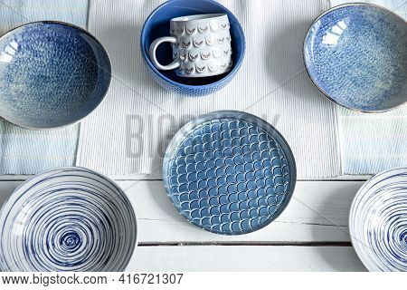 Empty Ceramic Tableware. Ceramic Plates And Cup On Wooden Surface. Overview Empty Food Table With Ta