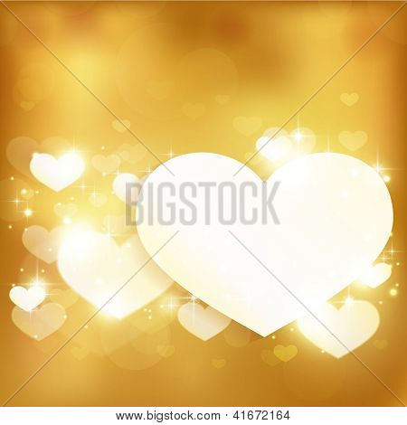 Festive gold background with light effects, hearts and stars. Great for Valentine's or any romantic themes. Contains gradient mesh elements. Space for your text. Vector available.