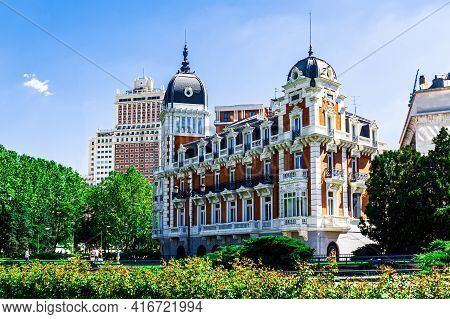 Madrid, Spain  - 14 May 2017: The Beautiful Building Of The Royal Asturian Company Of Mines Built On