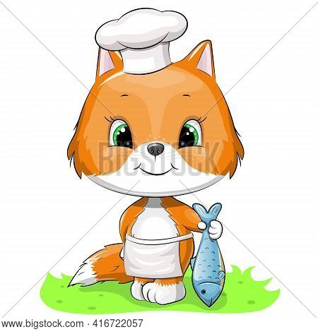 Cute Chef Fox In Chef's Hat And Apron Is Holding Fish. Vector Animal Illustration Isolated On White.