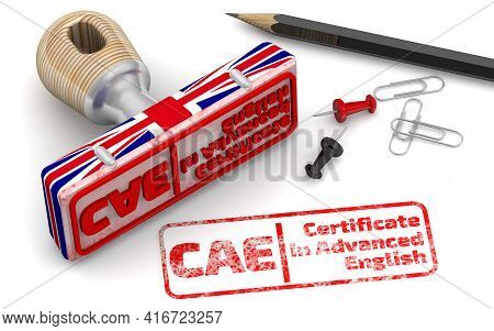Cae. Certificate In Advanced English. Rubber Stamp In Colors Of The Uk Flag And Red Imprint Cae. Cer
