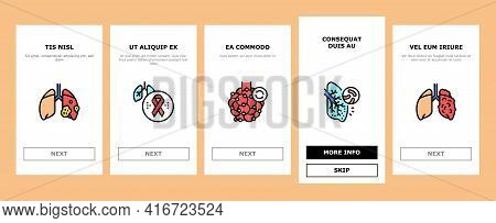 Respiratory Disease Onboarding Mobile App Page Screen Vector. Lungs Infection, Asthma And Tuberculos