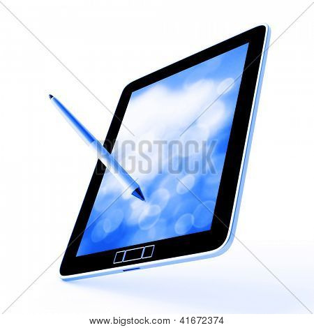 Modern device for communications and entertainments on a white background