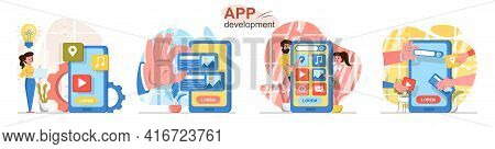 App Development Concept Scenes Set. Designer Comes Up With Ideas, Developers Create Interface Of Mob