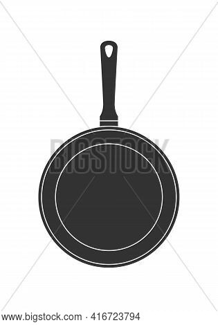Frying Pan Graphic Icon. Skillet Sign Isolated On White Background. Kitchenware Symbol. Vector Illus