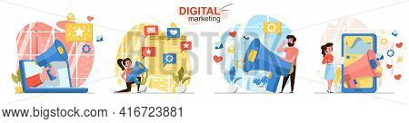 Digital Marketing Concept Scenes Set. Marketers With Loudspeaker Attract New Customers, Promote Busi