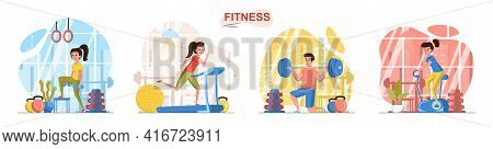 Fitness Sport Club Concept Scenes Set. Woman Training With Dumbbells, Exercising On Simulators, Man