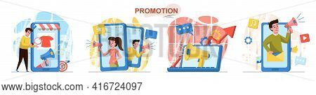 Promotion Concept Scenes Set. Marketing Team Attracting Buyers, Makes Advertising Content At Mobile