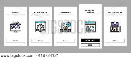 System Work Process Onboarding Mobile App Page Screen Vector. Integration And Administrator, Enginee
