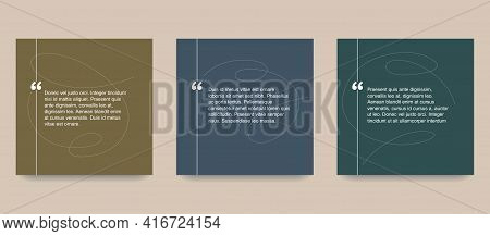 Quotes Template In 2 Variations - Flat Decorative Text Block. Creative Quotation Marks Andcopy Place