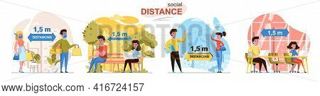 Social Distance Concept Scenes Set. Man And Woman Keep Distance Of 1.5 Meters At Shopping, In Park,