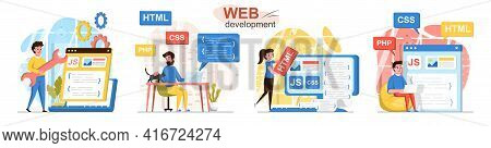 Web Development Concept Scenes Set. Developers Code In Different Programming Languages, Create Web P