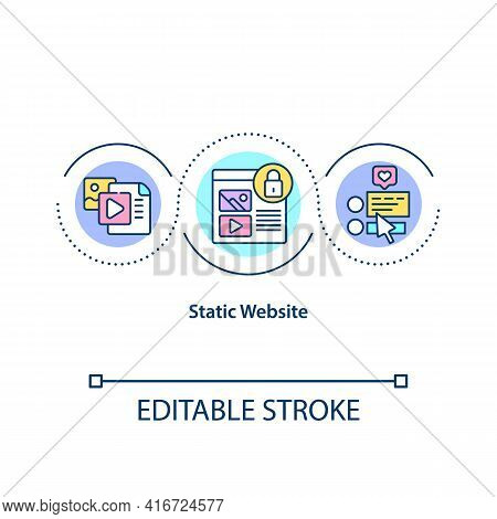 Static Website Concept Icon. Hard Coded Sites Which Display Exactly Same Information To All Viewers