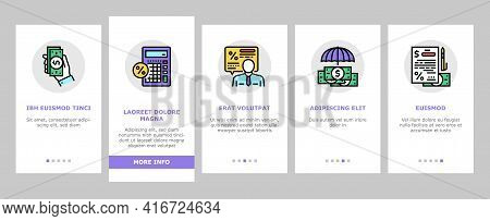 Loan Financial Credit Onboarding Mobile App Page Screen Vector. Loan For Buy Car And House Mortgage,