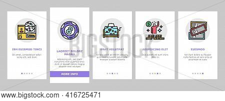 Lotto Gamble Game Onboarding Mobile App Page Screen Vector. Lotto Ticket And Ball, Winner Winning Pr