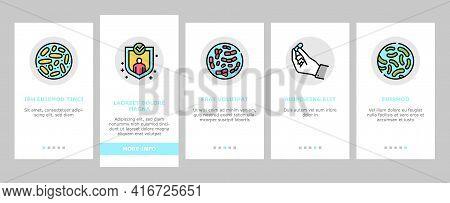Probiotics Bacterium Onboarding Mobile App Page Screen Vector. Dry And Liquid Probiotics, Sorption A