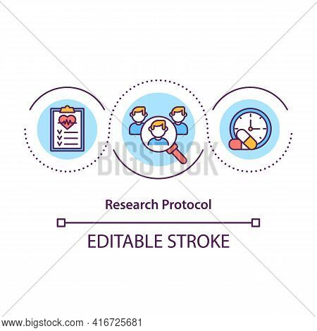 Research Protocol Concept Icon. Document For Research Study Idea Thin Line Illustration. Clinical St