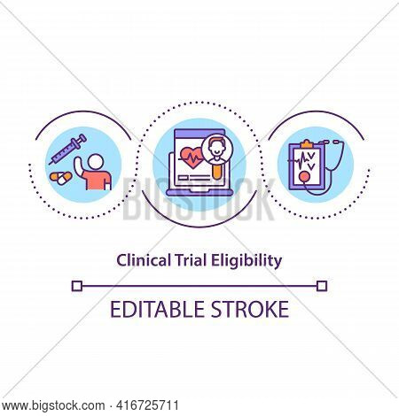 Clinical Trial Eligibility Concept Icon. Volunteer Requirements Idea Thin Line Illustration. Partici