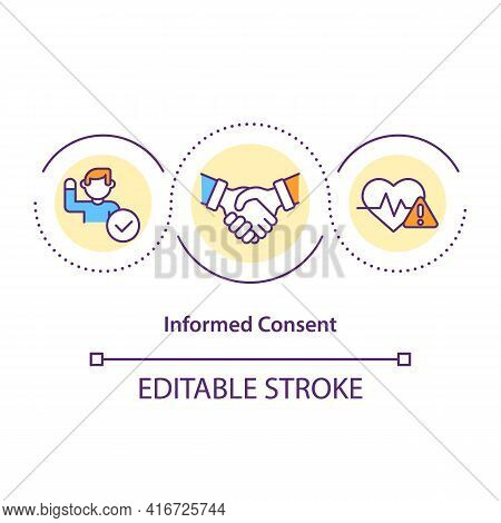Informed Consent Concept Icon. Potential Participant Agreement Idea Thin Line Illustration. Clinical