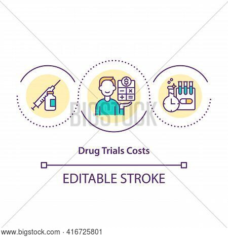 Drug Trials Costs Concept Icon. Cost Distribution Idea Thin Line Illustration. Ensuring Patient Safe