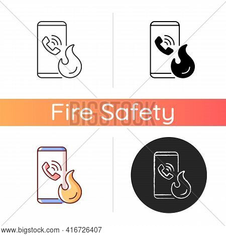 Call In Case Of Emergency Icon. Smartphone For Contacting Urgent Services. Firefighters Assistance.