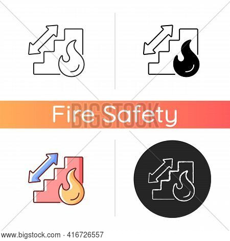 Stairway Icon. Directional Arrow To Evacuation Stairs. Building Stairs For Security. Fire Safety Reg