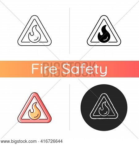 Flammable Icon. Triangle Label For Hazardous Substance. Warning Sign. Fire Safety Regulation, Emerge