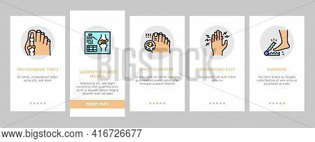 Gout Health Disease Onboarding Mobile App Page Screen Vector. Ridge And Articular Cartilage Gout, X-