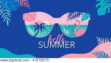 Summer Time Fun Concept Design. Creative Background Of Landscape, Panorama Of Sea And Beach On Sungl