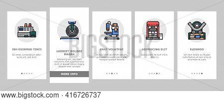 Metal Working Machine Onboarding Mobile App Page Screen Vector. Welding And Sandblasting Machine, La