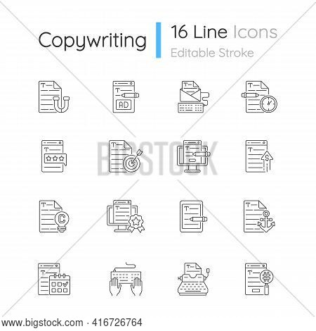 Copywriting Linear Icons Set. Aiming At Target Audience. Professional Copywriting. Website Content.