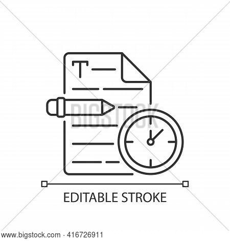 Urgent Copywriting Linear Icon. Fast Copywriting Services. Time Management On Project. Thin Line Cus
