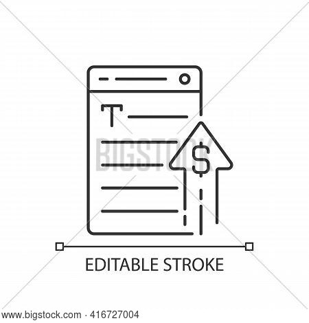 Generating Income Linear Icon. Revenue From Copywriting Services. Freelance Work Cost, Earn Money. T