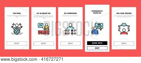 Expert Human Skills Onboarding Mobile App Page Screen Vector. Universal And Business Expert, Lawyer