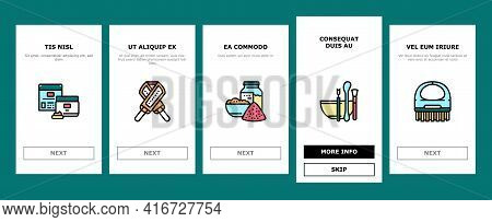 Spa Cosmetics Beauty Onboarding Mobile App Page Screen Vector. Spa Cosmetics And Accessories, Mask A