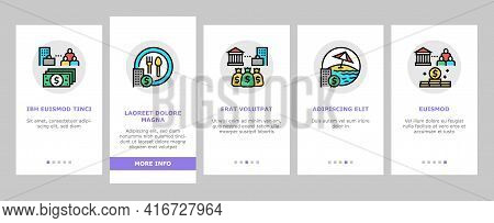Benefits For Business Onboarding Mobile App Page Screen Vector. Benefits For Employees And Social Pr