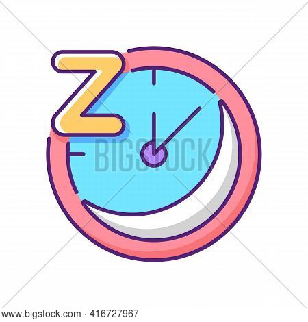 Regularity Rgb Color Icon. Sleep Schedule. Nighttime On Clock. Bedtime On Watch Dial. Time For Relax
