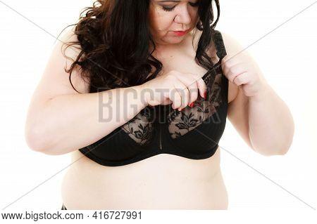 Plus Size Fat Mature Unrecognizable Woman Wearing Black Lace Soft Bra. Female Breast In Lingerie. Bo